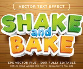 Shake and bake editable font effect text vector