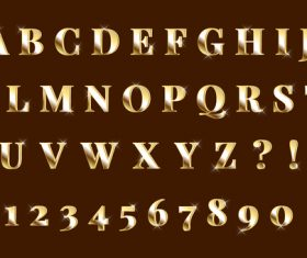 Shining gold 3d alphabets numbers set vector