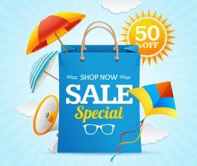Shop now sale special flyer vector