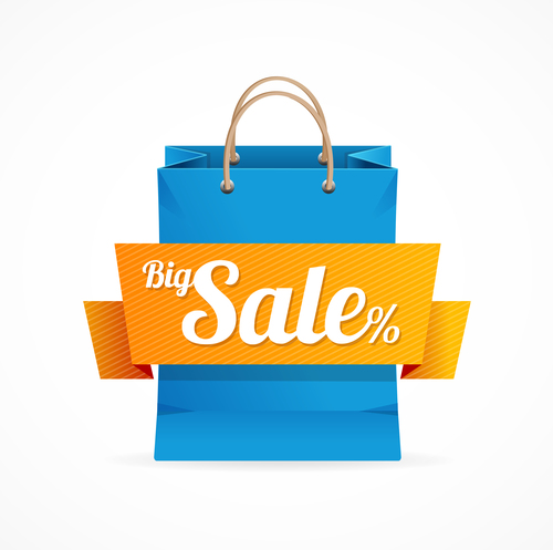 Shopping bag and label vector