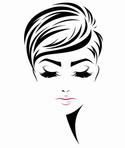 Short broken hair styling girl vector