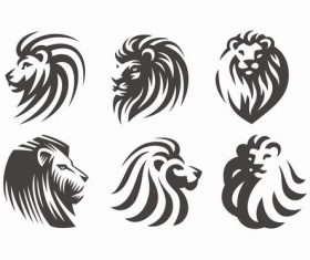 Silhouette lions design vector