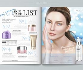 Skin care list magazine vector