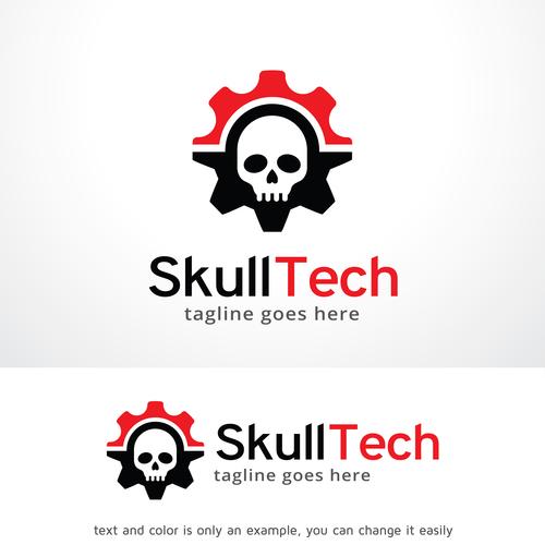 Skull Tech logo vector