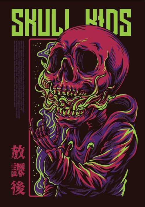 Skull kids T shirt print pattern background vector