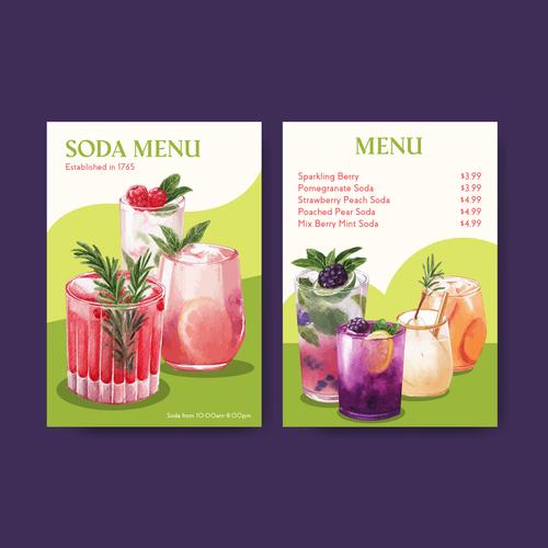 Soda menu in vector