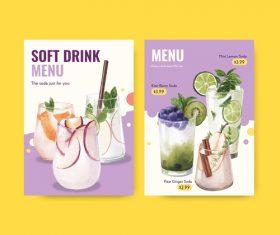 Soft drink menu in vector