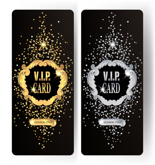 Sparkling VIP gold and silver vertical cards vector