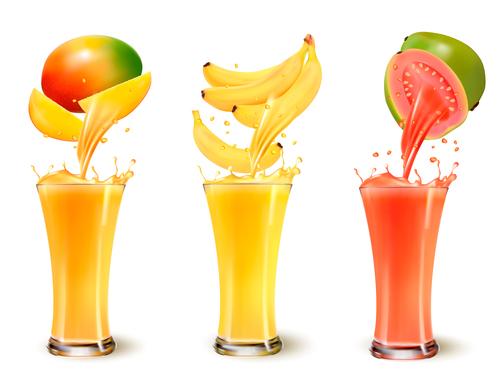 Splash of juice in fruit vector