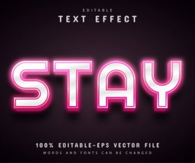 Stay text pink neon style text effect vector