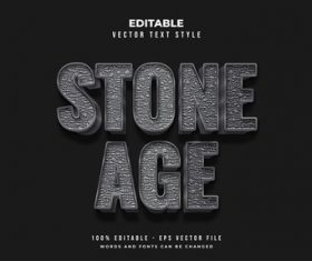 Stone age text font style vector
