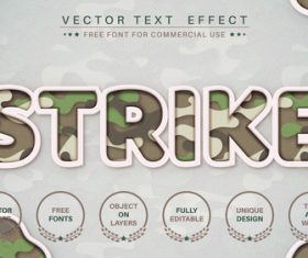 Strike font style effect vector
