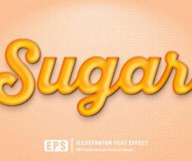 Sugar editable font effect text vector