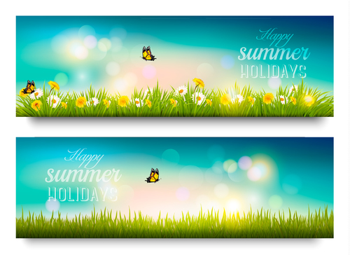 Summer beautiful time banner vector