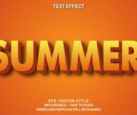 Summer editable font effect text vector