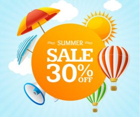 Summer half price sale flyer vector