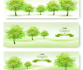 Summer nature banner background vector