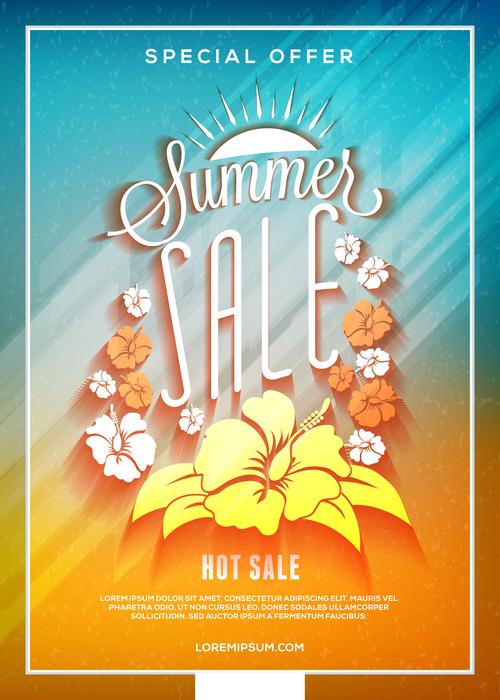 Summer sale flyer vector