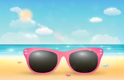 Sunglasses vector on the beach