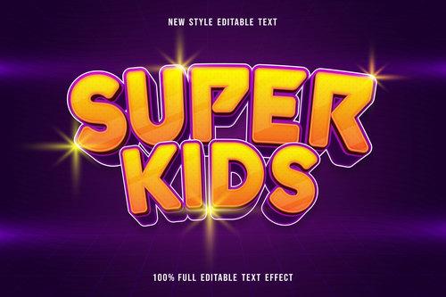 Super kids editable text effect vector