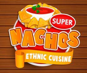 Super nachos food stickers vector