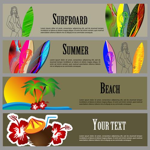 Surfboard banner vector