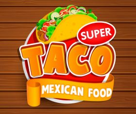 Taco food stickers vector
