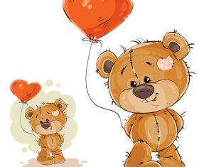 Teddy bear cartoon vector holding a heart-shaped balloon