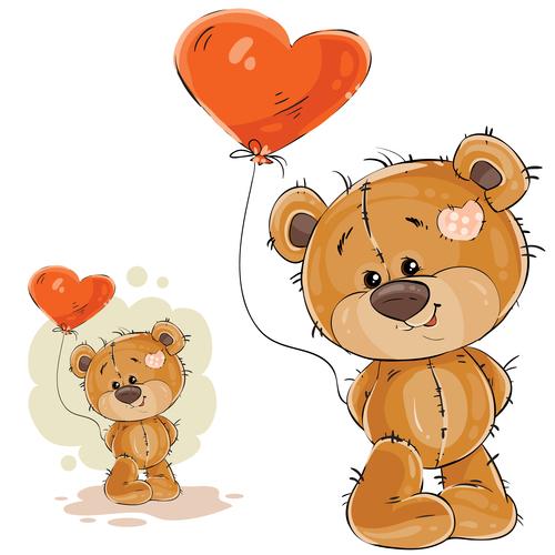 Teddy bear cartoon vector holding a heart shaped balloon