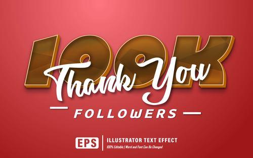 Thank you editable font effect text vector