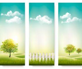 Three summer nature banner vector