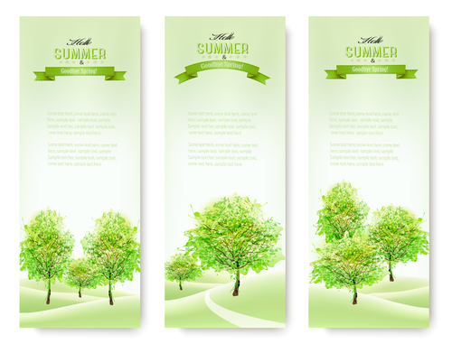 Three summer nature banners with green trees vector