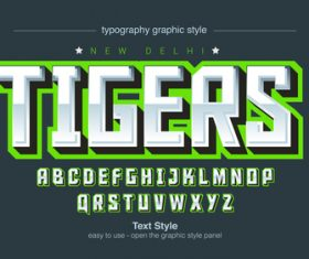 Tigers typography graphic style vector text effect