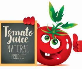 Tomato juice with text in blackboard vector