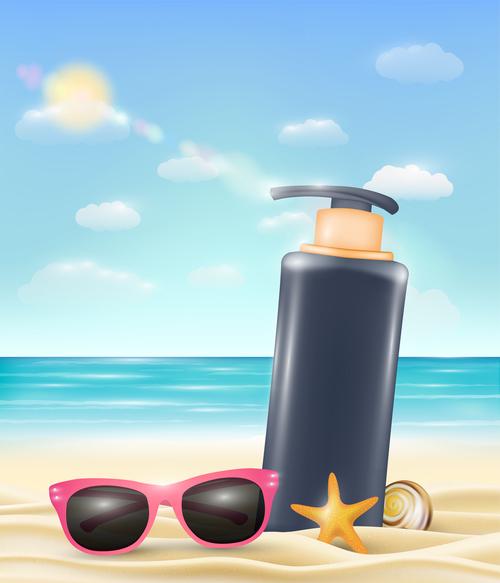 Travel sunscreen vector