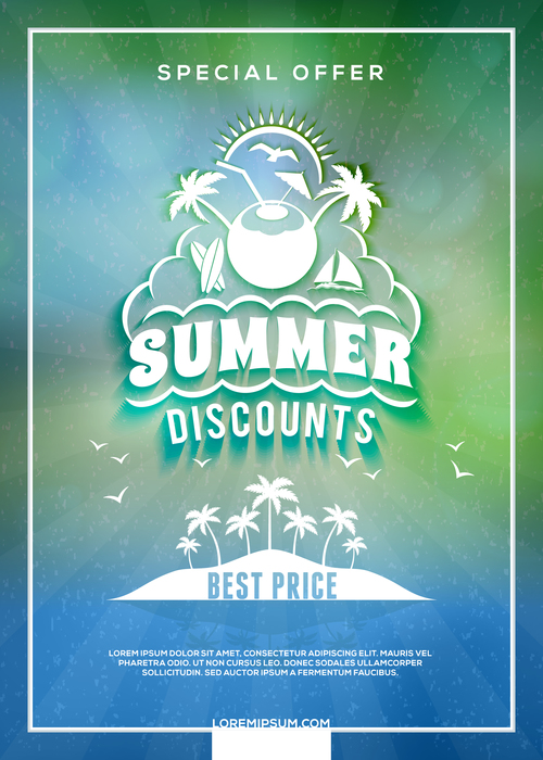 Travel vacation promotional flyer vector