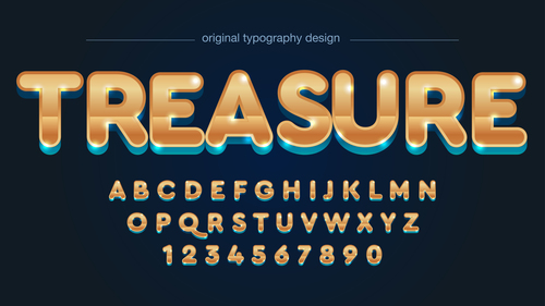 Treasure typography graphic style vector text effect