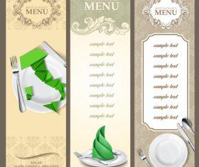 Triple restaurant menu design vector