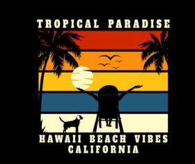Tropical paradise hawaii beach vector