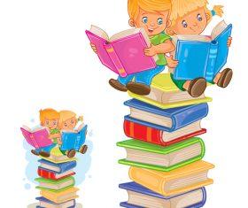 Two children reading books vector