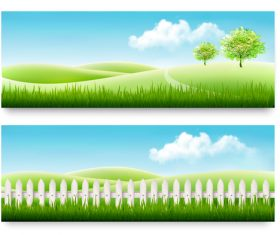 Two summer nature banner vector