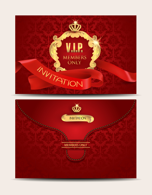 VIP elegant red envelopes with red curled ribbon vector