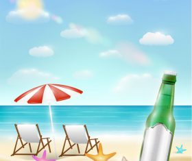 Vacation beach and beer vector
