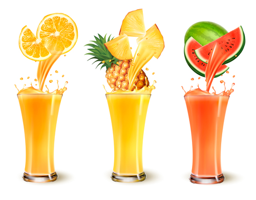 Various flavors of fruit juice vector