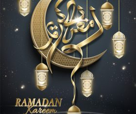 Vector Ramadan kareem poster with arabic glossy crescent