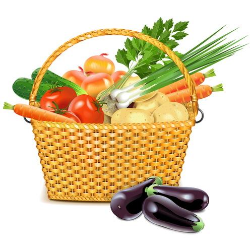 Vector Wicker Basket with Vegetables