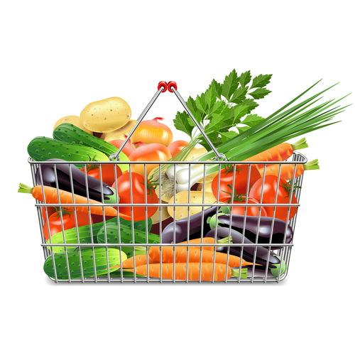 Vector supermarket basket with vegetables