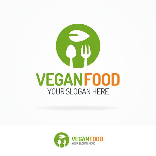 Vegan food logo vector