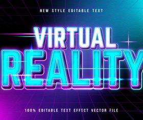 Virtual reality editable text effect modern neon style vector