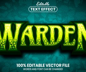 Warden text font style vector